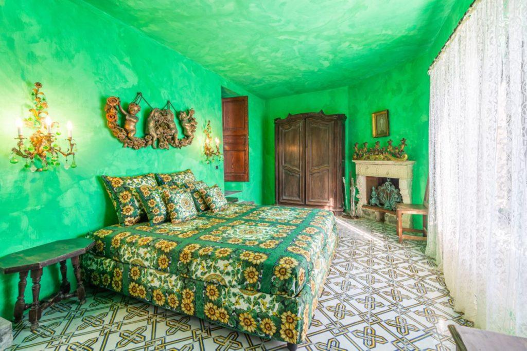 unutrašnjost, spavaća soba, zeleno